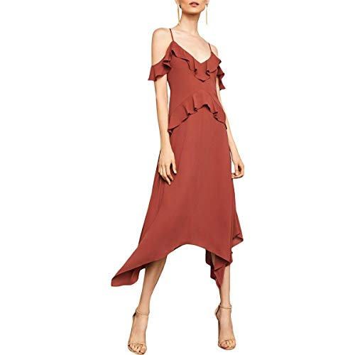 BCBG Max Azria Lissa Women's Asymmetric Cold Shoulder Midi Dress Orange Size XXS