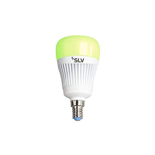 SLV PLAY Smart LED-Lampe WLAN, Mehrfarbige Dimmbare LED Glüh-Birne E14, 16 Mio Farben (RGBW), 7,5W ersetzt 40 Watt, ohne Hub nutzbar, Wifi, Kompatibel mit Alexa und Google Home, 470 Lumen