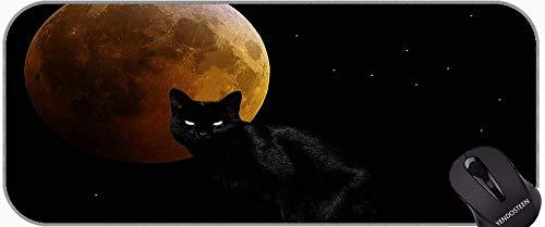Juego extendido Alfombrilla De Ratón, Luna Animal ¿Ojos de Gato Oscuro Negro Negro Antideslizante Base de Goma Mousepad