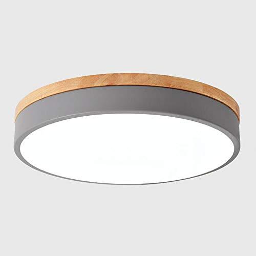 Modern Rund Deckenlampe LED Dimmbar mit Ferbedienung,aus Grau Metall und Holz,24W Led Deckenleuchte Decken-Beleuchtung für Schlafzimmer Kinderzimmer Galerie Bad 3000-6000K Licht,φ40CM