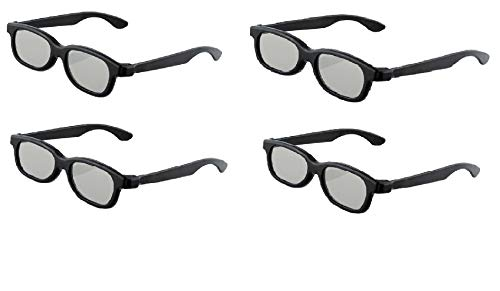 4 Pairs Passive 3D Glasses Circular Polarized Lenses for Family All Ages Unisex Sony Sharp Toshiba Samsung LG Philips and all Passive TVs, RealD Cinema Home Movie Theaters and Projectors