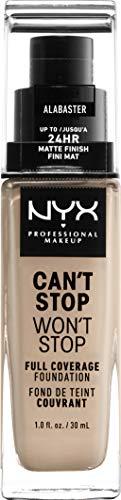 NYX Professional Makeup Can't Stop Won't Stop Full Coverage Foundation, Langanhaltend, Wasserfest, Vegane Formel, Mattierter Teint, Farbton: Alabaster
