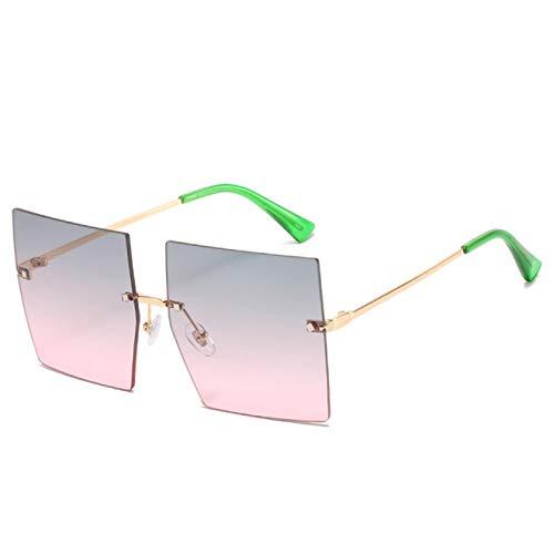 ShZyywrl Gafas De Sol De Moda Unisex Gafas De Sol Cuadradas Sin Montura De Gran Tamaño para Mujer Gafas De SolTransparentes con Tapa Plana De Una Pieza para