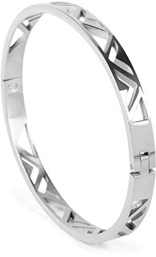 styleBREAKER Damen Edelstahl Armreif mit dreieckigen Cutouts im Azteken Style, Clipverschluss Armband, Schmuck, 05040168, Farbe:Silber