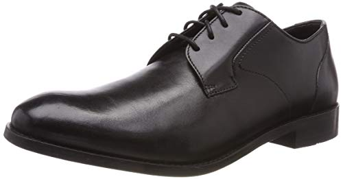 Clarks Herren Edward Plain Derbys, Schwarz (Black Leather), 41.5 EU
