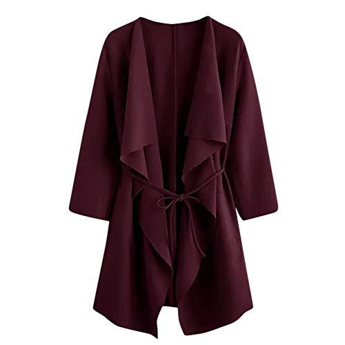 TOPKEAL Jacke Mantel Damen Herbst Winter Sweatshirt Wasserfall Kragentasche Steppjacke Front Wrap Kapuzenjacke Hoodie Pullover Outwear Coats Tops Mode 2020 (Wein, M)