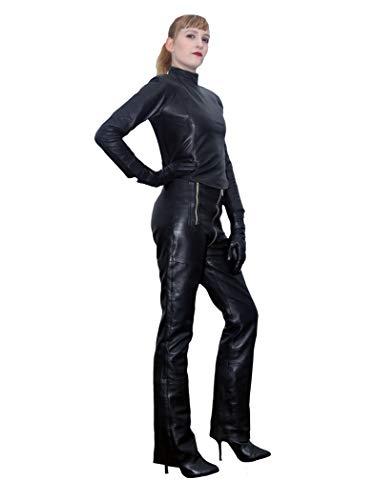 Fetish-Design Damen Lederhose Kim Gerades Bein Bootcut High Waist Durchgehender Zipper echtes Lammnappa Leder