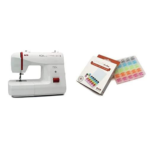 Alfa Basic 720 Máquina de coser, 9 diseños de puntada, motor de 70 W, color blanco + 6050-Caja 25 canillas Colores, Multicolor