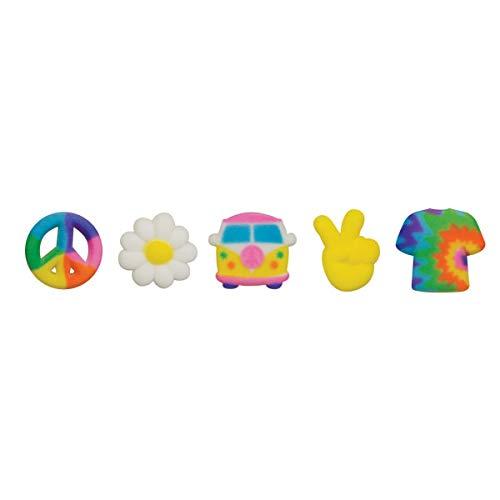 Lucks Peace Signs, Tie Dye Shirt, Van, and Daisy Edible Sugar Decorations