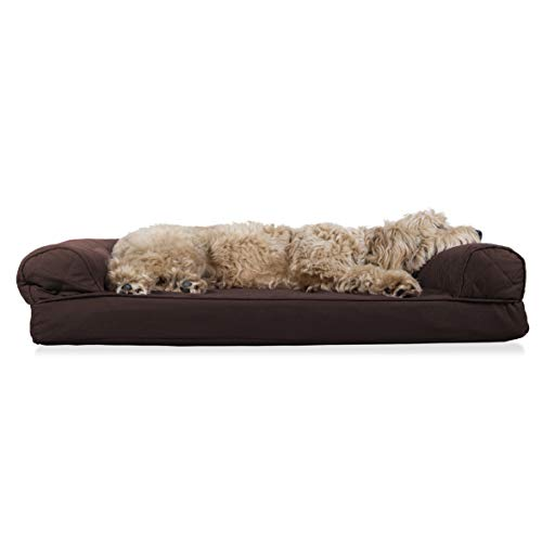 Furhaven Pet Dog Bed - Orthopedic Quilted Traditional Sofa-Style Living Room Couch Pet Bed w/Removable Cover for Dogs & Cats, Coffee, Large