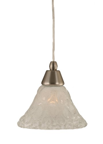 Toltec Lighting 22-BN-451 Cord Mini-Pendant Light Brushed Nickel Finish with Bubble Glass, 7-Inch