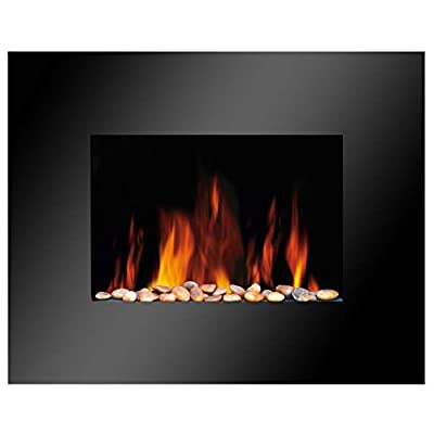 Electric Black Glass Fire Fireplace Compact Wall Mounted Living Flicker Flame