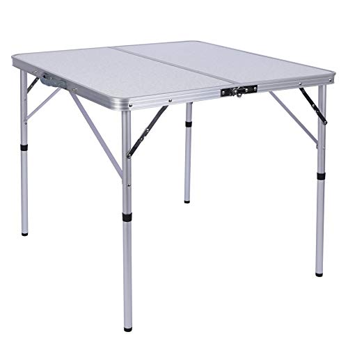 CAMPMOON Folding Card Tables with Waterproof MDF Top, Lightweight Portable Small Square Folding Table for Adults Indoor Outdoor 32x32 inches, White