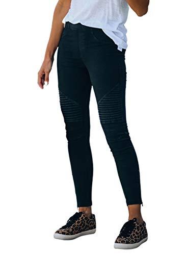 CORAFRITZ Pantalones elásticos para mujer – Leggings ajustados, pantalones de trabajo, ajuste holgado, con cremallera lateral