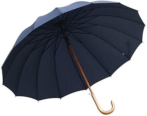 Moolo Impermeabile Antivento Umbrella Gazebo semiautomatica incatramata Grande Ombrello Pieghevole a Doppio Strato Antivento di Legno Solido Ombrello Superficie Manico Lungo 115 cm (Size : H)