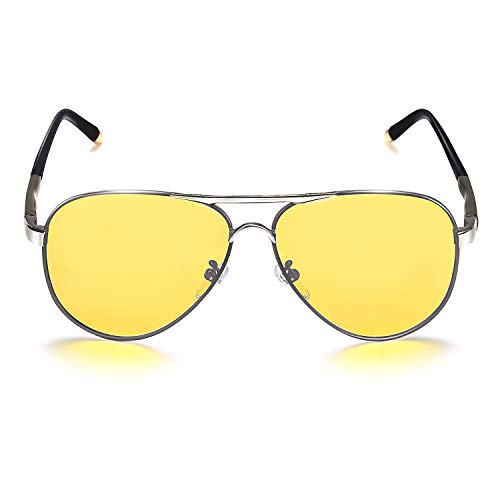 ROCKNIGHT Aviator Polarized Night Vision Sunglasses for Men Women Metal Driving Sunglasses Anti Glare UV400 Yellow Sunglasses