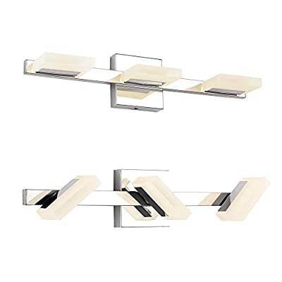 LED Vanity Light, LETSUN 21.8in Modern 3 Lights LED Bathroom Light Fixture 9W Warm White 2,900K Bathroom Lights Over Mirror in Chrome and Acrylic with 360 Degrees Rotation, IP44 Splash Proof