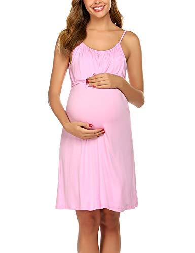 Unibelle - Camisa de lactancia para mujer, sin mangas, vestido de nacimiento, pijama de lactancia, corta, verano, sin aros Rosa. M