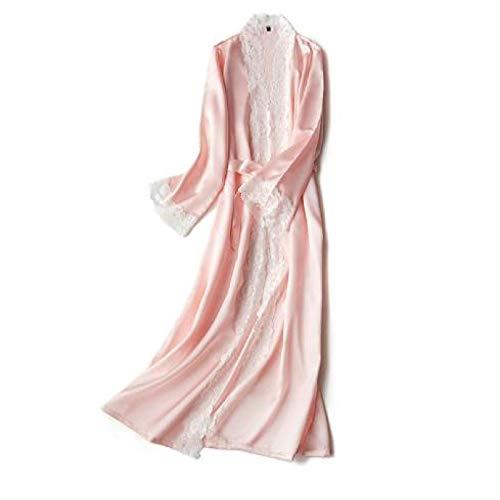 berglink Seidenspitze Lange Robe Damen Nachthemden, Damen düNner Bademantel Sexy Damen Seidiger Bademantel Damen Indoor Nachthemd XL pink