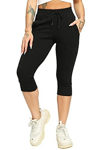 FITTOO Pantacourt Coton Sport Femme Pantalon Decontracté Corsaire Poches Yoga Bande Latérale Rayure Yoga Loisirs #1 Bleu Capri XL