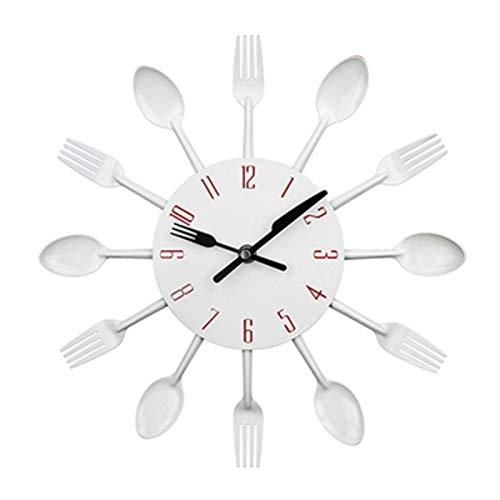 GXEXG Reloj de pared de silencio, Reloj de pared cubiertos de metal reloj de pared de la cocina Cuchara Tenedor creativo de cuarzo montado en la pared Relojes de diseño decorativo moderno