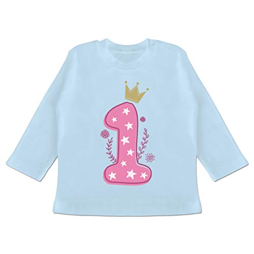 Shirtracer Baby Geburtstag Geburtstagsgeschenk - 1. Geburtstag Mädchen Krone Sterne - 3/6 Monate - Babyblau - Langarm 1. Geburtstag mädchen - BZ11 - Baby T-Shirt Langarm