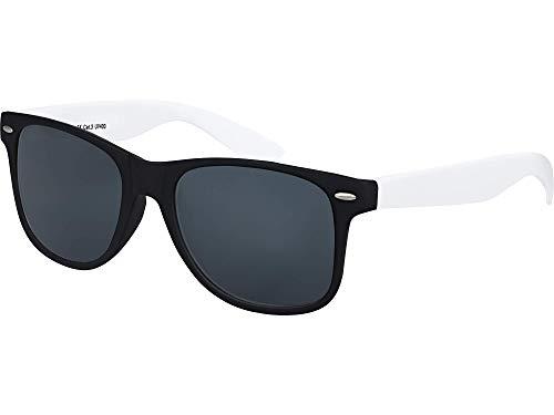 Balinco Hochwertige Nerd Sonnenbrille Rubber im Retro Stil Vintage Unisex Brille mit Federscharnier - 96 verschiedene Farben/Modelle wählbar (Weiß/Schwarz - Smoke)