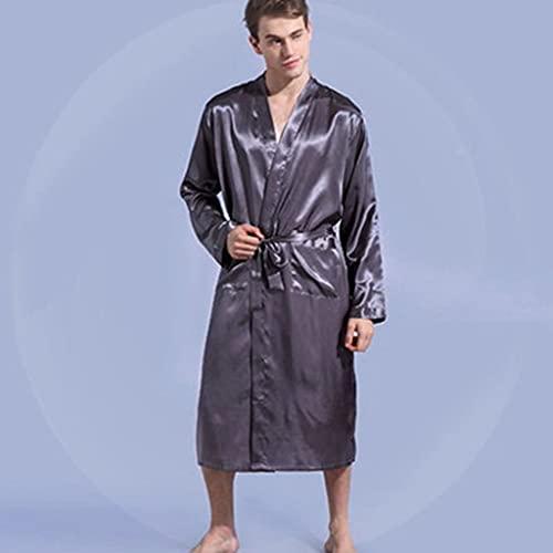 DEWUFAFA Ocio para Hombre Ropa de Dormir Bata Vestido sólido Kimono (Color : Gray, Size : XX-Large)