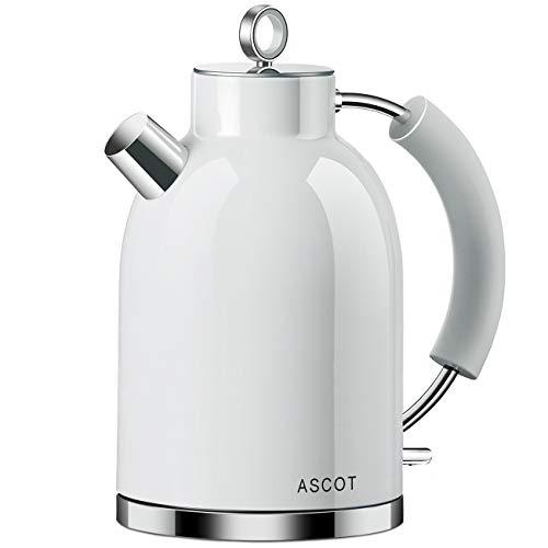 Wasserkocher Edelstahl, ASCOT Elektrischer Wasserkessel, 2200 W, 1,6 liter, Retro Design, kabelloser Teekocher, BPA frei, Trockengehschutz, automatische Abschaltung, (Weiß)