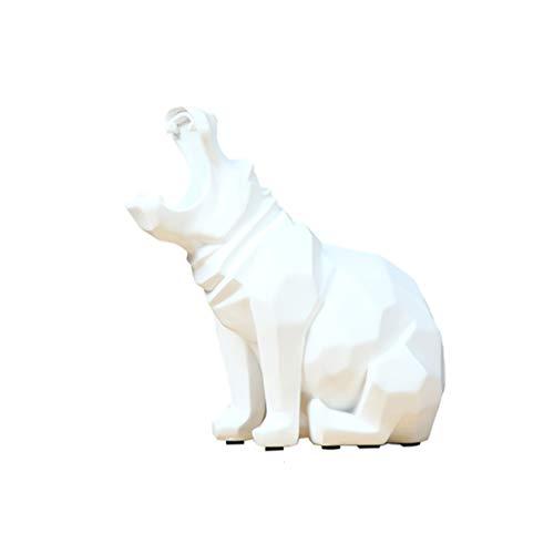 GAOYINMEI Rzeźba biurkowa statuetka nordycka prosta nowoczesna hipopotam ozdoby akcesoria do domu salon szafka na wino dekoracje ozdoby kreatywne meble biurowe (kolor: biały)