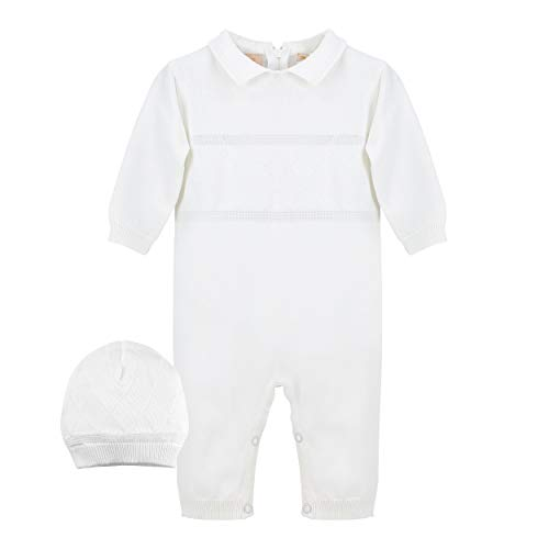 Baby Boys' Christening Coverall with Diamond Stitching - Includes Hat, 6M White