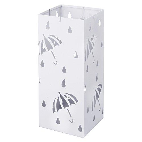 Woltu Schirmständer Regenschirmständer Schirmhalter für Gehstöcke Mit Wasserauffangschale Haken L20 x B20 x H49 cm Weiß SST02ws