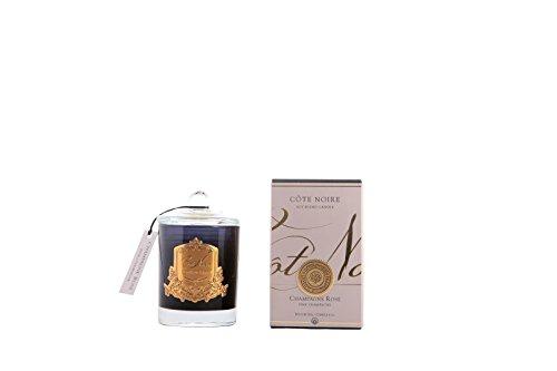 Cote Noire Roze Champagne - Champagne Rose geurende kaars in een zwarte glazen pot Ltd Edition Gold Crest