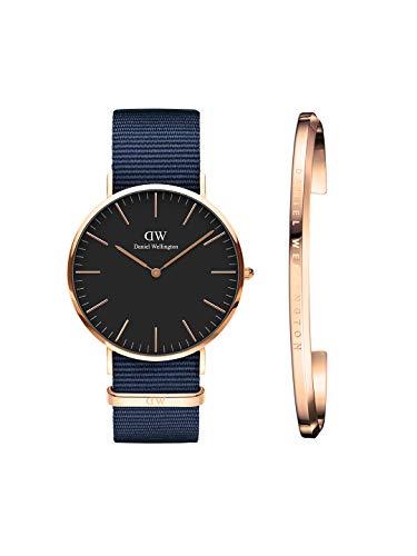 Daniel Wellington DW00500269 Classic Bayswater 40mm RG Black Dial & Classic Cuff Rose Gold. Watch & Cuff Combo Analog Watch  – For Men