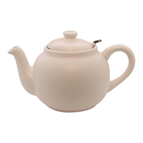 Plint Teekanne, Stövchen - 1,5 Liter - Weiß - Steingut mit Edelstahl Sieb