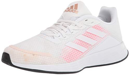 adidas Women's Duramo SL Running Shoe, White/White/Signal Pink, 9