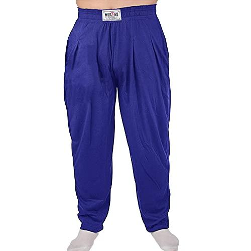 Pantalones Holgados para los Hombres Gimnasio de musculación de algodón y Spandex Azul...