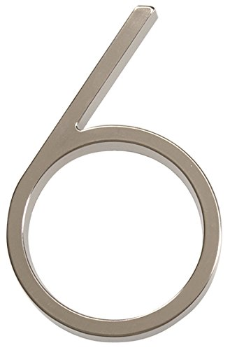 Distinctions 843216 Brushed Nickel Floating Mount 5-Inch House Number 6