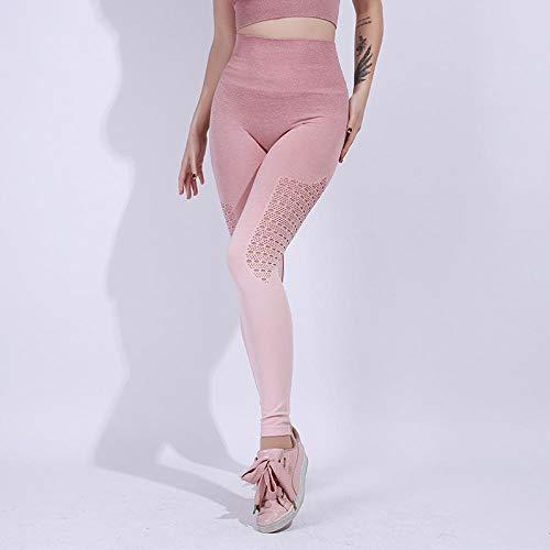 B/H Taille Haute en Tissu Léger Pantalons Yoga,Pantalon de Sport Moulant Extensible, Pantalon de Yoga de Course Respirant et à séchage Rapide-Cherry Blossom Powder_L