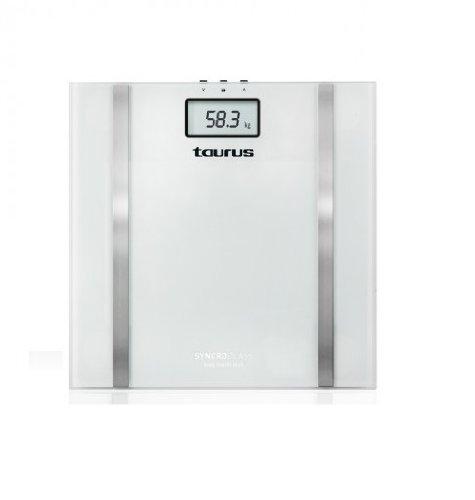 Taurus - Báscula Baño Sincroglass, 150Kg, 10 Memorias, digital, color Blanco