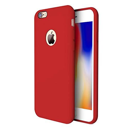 TBOC Cover per Apple iPhone 6 Plus [5.8']- Custodia Rigida [Rossa] Silicone Liquido Premium [Sensazione Morbida] Fodera Interna Microfibra [Protegge Fotocamera] Antiscivole Resistente Sporco Graffi