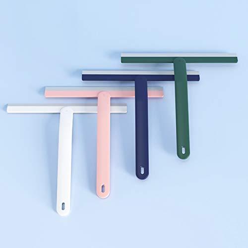 Queta - Spatola per doccia in silicone con testina in TPR per acqua domestica, per specchio da bagno, finestre, auto, multifunzione, senza fori, colore: bianco