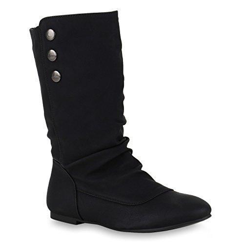 stiefelparadies Damen Schlupfstiefel Boots Schuhe 123783 Schwarz Avion 39 Flandell