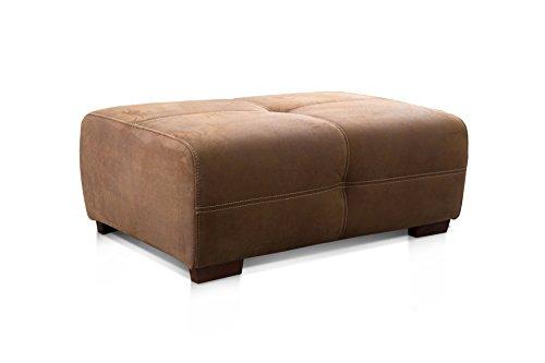 Cavadore Hocker Mavericco / XXL Couch-Hocker im modernen Design / Mikrofaser / Passend zu Big Sofa und Ecksofa Mavericco / 108 x 71 x 41 cm (BxHXT) / Mikrofaser Braun
