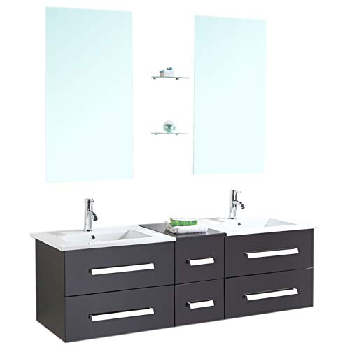GRAFICA MA.RO SRL Muebles para baño Modelo Rome 150 cm para Cuarto de baño Espejo baño Grifo Incluido Mueble + 2 Espejos + repisas + grifería + fregaderos