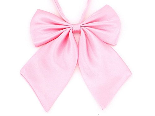 AKOAK Adjustable Pre-tied Bow Tie Solid Color Bowties for Women ties,Pink