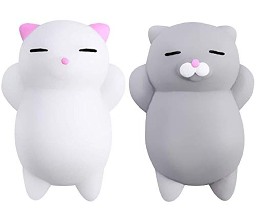 Nutty Toys Squishy Cat Set - 2 Soft Silicone Kawaii Kitties, Top Stress Relief Sensory Gifts 2021, Unique Valentines Day Idea for Kids & Adults, Best Teen Girls, Teenage Boys & Tweens Easter Present