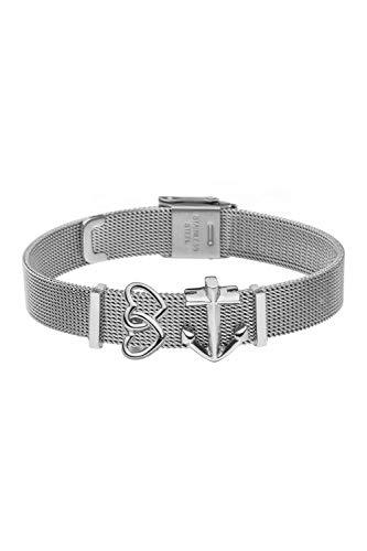 FAYE Armband Silver Mesh Strap Double Hearts & Anchor