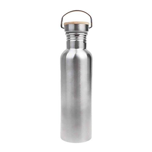 Tubayia - Botella de Agua (750 ml, Acero Inoxidable, Tapa de bambú a Prueba de Fugas, para Pesca, Acampada, Deportes)
