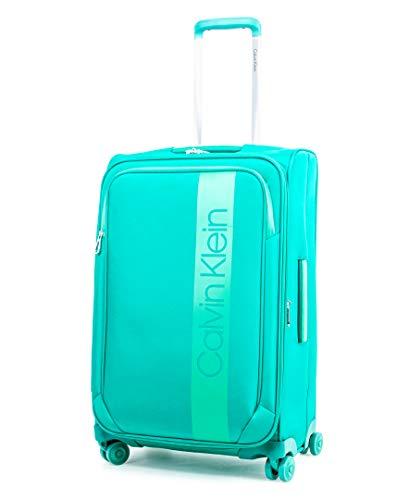 Calvin Klein Park Lane Expandable Softside Spinner Luggage, Green, 24 Inch